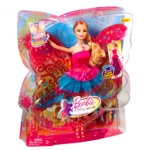 Barbie A Fairy Secret Barbie Doll 2 In 1 Dress Wings T7349